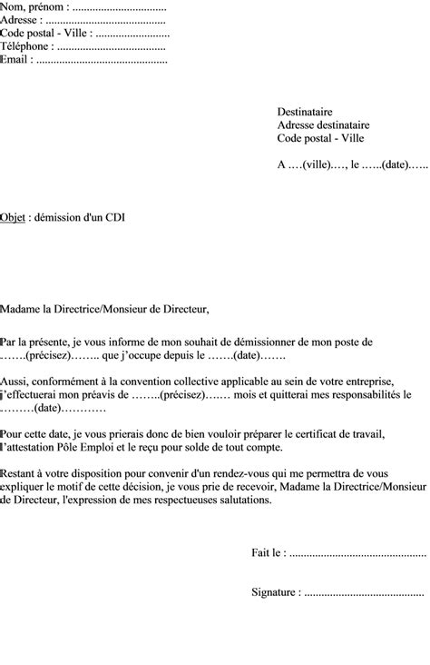 modele de lettre de demission cdd exemple lettre de demission preavis reduit