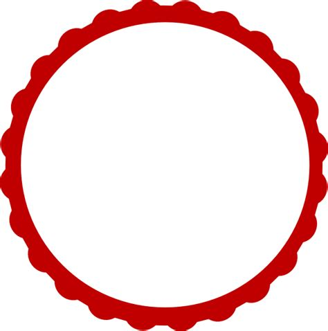 Red & White Scallop Circle Frame Clip Art at Clker com