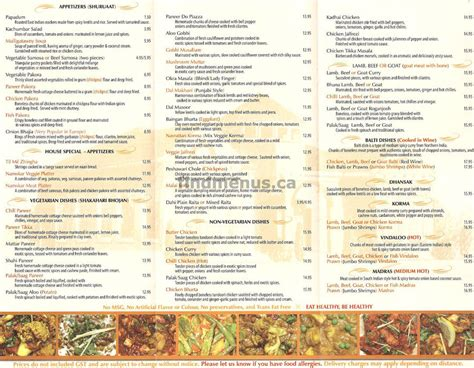 find menus calgary alberta namskar east indian