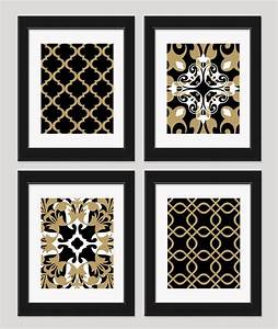 Black white gold art wall set of by