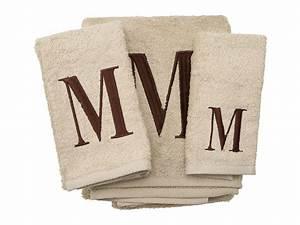 avanti premier monogram towel set letter m linen brown With towels with letters