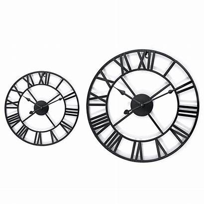 Clock Metal Roman Numeral Round Skeleton Shape