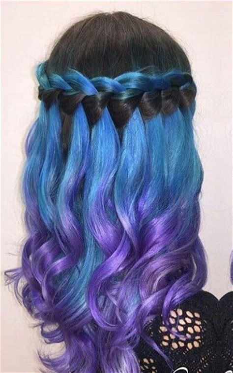 black blue purple waterfall ombre dyed hair color