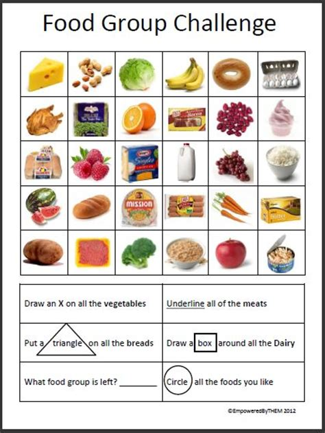 four food groups worksheets empowered by them september 2012