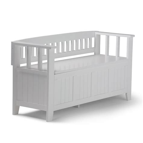 White Entry Way Bench - simpli home acadian entryway bench white