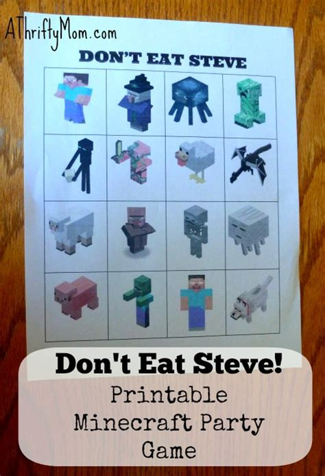 dont eat steve  printable minecraft party game minecraft party  thrifty mom recipes