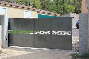 Portail En Fer Lapeyre : portail coulissant motoris avec portillon int gr it41 ~ Premium-room.com Idées de Décoration