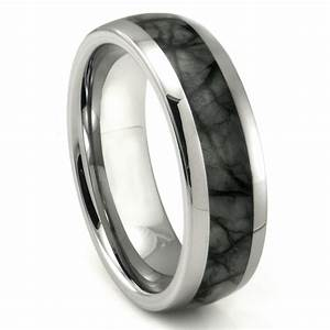 tungsten carbide grey metamorphic stone inlay dome wedding With grey wedding rings
