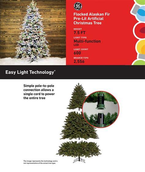 flocked alaskan fir pre lit ge tree shop ge 7 5 ft pre lit alaskan fir flocked artificial tree with 600 color changing