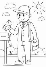 Coloring Mail Carrier Pages Printable Professions Community Helpers Drawing Categories Dot Crafts Supercoloring sketch template