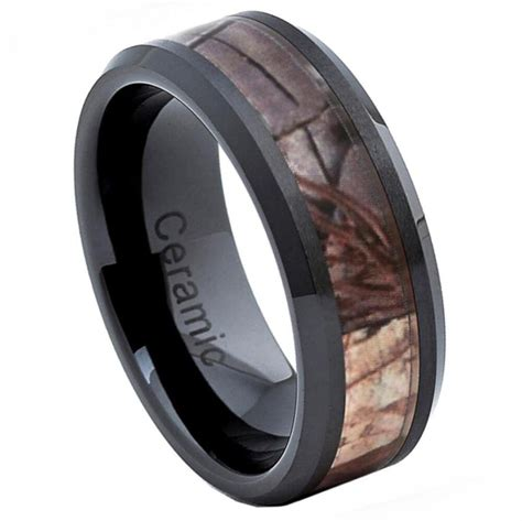 mm mens ceramic camouflage inlay wedding band ring