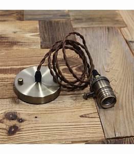 Cable Pour Suspension : suspension douille cuivre a interrupteur pour ampoule filament edison ~ Teatrodelosmanantiales.com Idées de Décoration