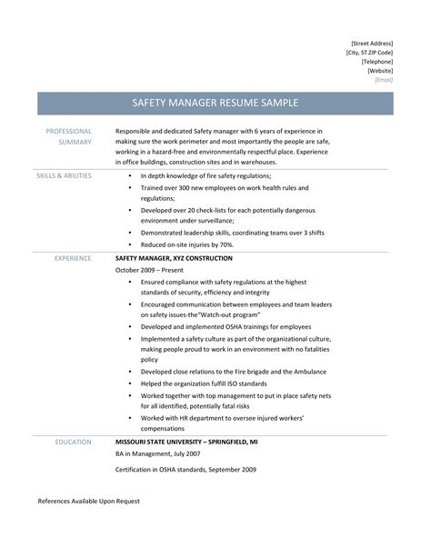 health and safety advisor cv 28 images health and