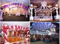 decoracion para fiestas de 15 años con globos y telas 4