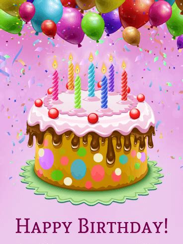 colorful happy birthday cake card birthday greeting
