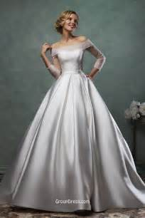 wedding dress satin simple gown satin wedding dress with quarter sleeves groupdress