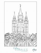 Coloring Temple Lake Salt Lds Mormon Template Pages Pdf Popular sketch template