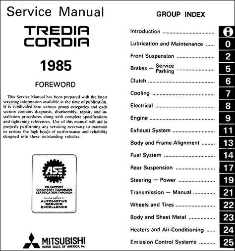 how to fix cars 1985 mitsubishi truck transmission control 1985 mitsubishi cordia and tredia repair shop manual original