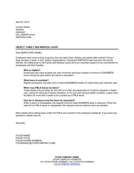 letter explaining family  medical leave template