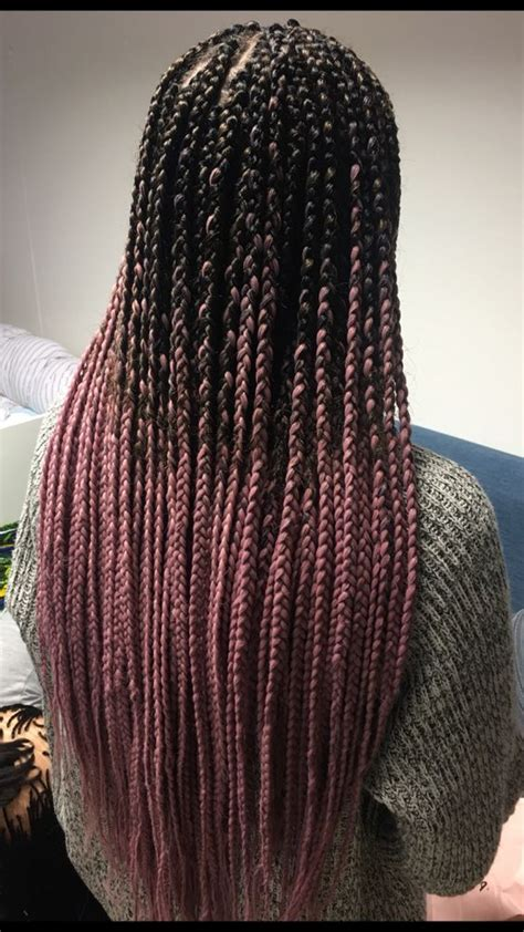 ombre pink box braids