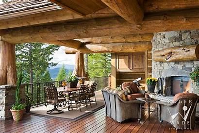 Log Fireplace Outdoor Patio Designs Cabin Corner