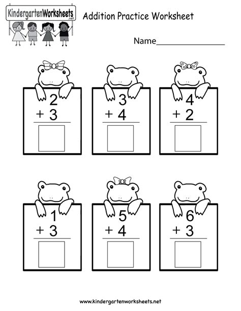 practice adding math worksheet free kindergarten worksheet for kids