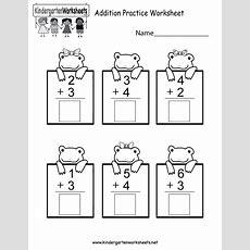 Practice Adding Math Worksheet  Free Kindergarten