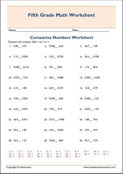comparing decimals 5th grade edumonitor