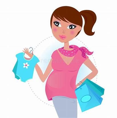 Shopping Pregnant Vector Mom Boy Mother Illustration
