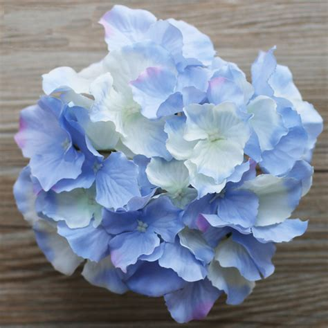 hydrangea heads 10pcs decorative artificial silk hydrangea heads simulation diy flower head silk flower for