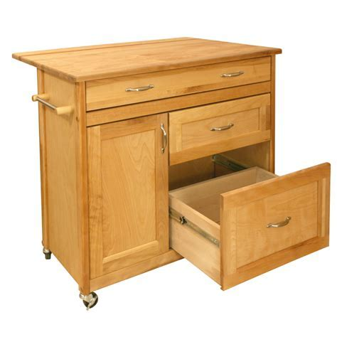 Kitchen Island Cart with Deep Drawers & Drop Leaf