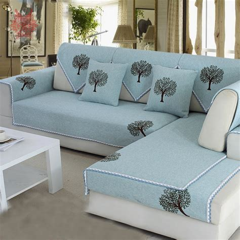 cover para sofa pastoral style blue green with plant printed sofa