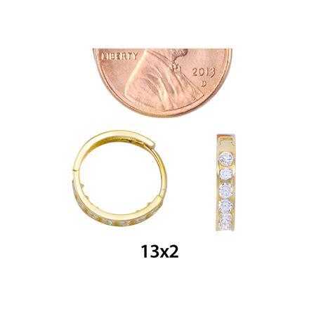 yellow gold huggie hoop earrings clear cz cubic zirconia mm  mm