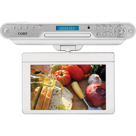 kitchen cabinet tv dvd cd player radio coby ktfdvd7093 7 quot tft cabinet tv and ktfdvd7093svr 9903