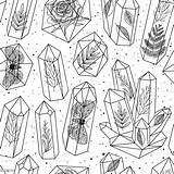 Crystals Gems Pattern Crystal Drawing Vector Seamless Coloring Istockphoto Activity Gem Illustrations Object Stone Jewelry Flower sketch template