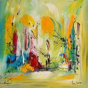 Tableau Peinture Moderne : tableau peinture abstraite couleur vert tableau contemporain moderne ~ Teatrodelosmanantiales.com Idées de Décoration