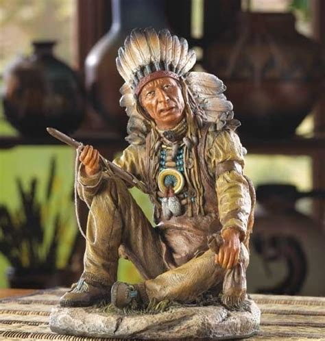 noble chief indian statue western decor native american figurines