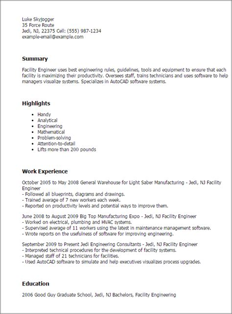 Facilities Resume Templates by Facility Engineer Sle Resume 20 Facilities Cover Letter