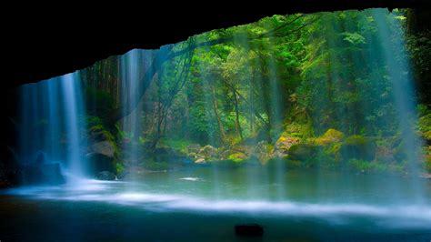 full hd wallpaper waterfall cave light forest desktop