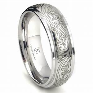 cobalt xf chrome 8mm laser engraved paisley motif dome With laser engraved wedding rings