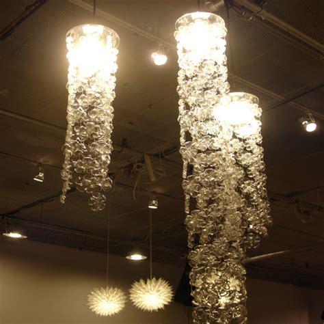 recycled bottle cascade chandelier inhabitat green