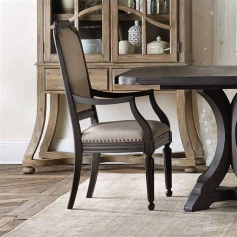 hooker corsica upholstered arm dining chair  dark wood