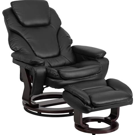 Contemporary Leather Recliner And Ottoman by Flash Furniture Contemporary Black Leather Recliner And