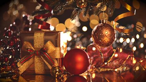 decorated christmas tree  gifts stock footage video