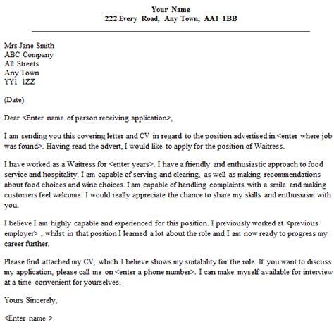 Cover Letter Exles Waitress waitress cover letter sle lettercv