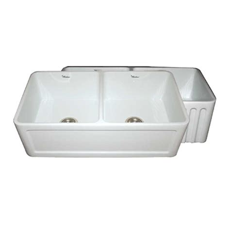 white apron kitchen sink whitehaus collection reversible concave farmhaus series 1252