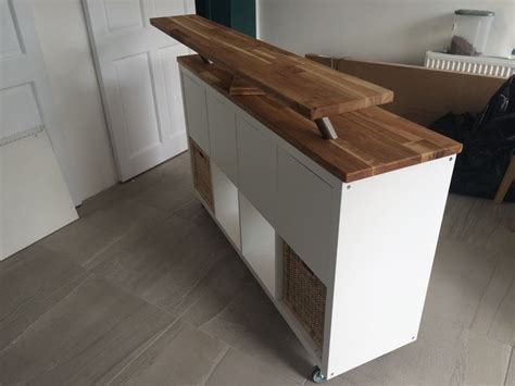 ikea hack kitchen island breakfast bar kallax  heavy