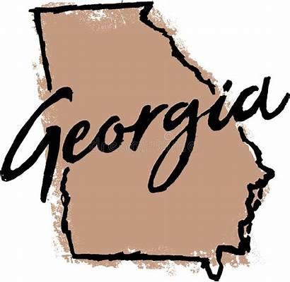 Georgia State Sketch Drawn Outline Mano Getrokken