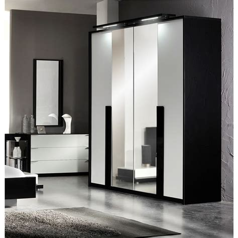 armoire chambre noir laqué aroma armoire 4 portes 2 miroirs laqué noir blanc achat