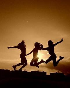 friends, girl, jump, jumping, three - image #352406 on ...